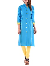 sky blue cotton straight kurta -  online shopping for kurtas