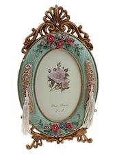 Golden Peacock Colourful Ovel Shaped Resin Photo Frame - By