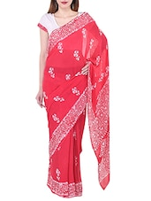 Red Georgette Printed saree -  online shopping for Sarees