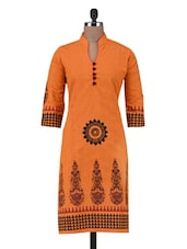 Red Cotton Block Printed Kurti - By