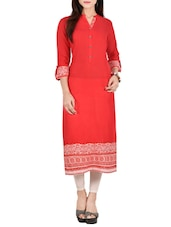 Red Rayon Straight Kurta - By