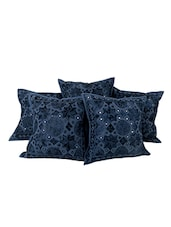 Rajrang Embroidered With Mirror Work Cotton (16 X 16) Set Of 5 Cushion Cover - By