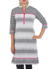 Grey Cotton Printed Kurti - By