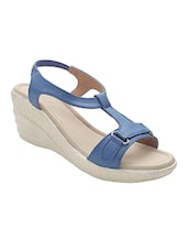 blue leatherette back strap wedges -  online shopping for wedges