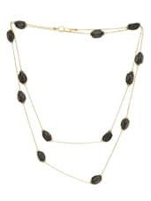 Black And Gold Stone Necklace - By