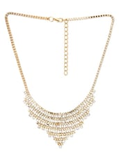 Gold Crystal Embellished Statement Necklace - By