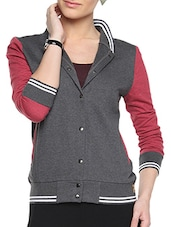 Black Cotton Solid Long Sleeves Varsity Jacket - By - 1294517