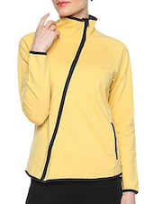Yellow Cotton Solid Long Sleeves Piped Jacket - By