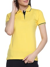 Yellow Cotton Solid Short Sleeves Polo Neck T Shirt - By