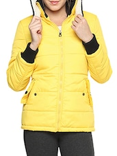 Yellow Nylon Solid Long Sleeves Jacket - By
