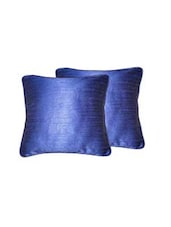 """Lushomes Fire Blue Twinkle Star Cushion Covers With Cord Piping  (Size 12"""" X 12"""") Pack Of 2 - By"""