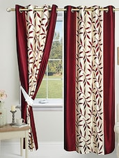 Red Polyester Printed Eyelet Door Curtain - By