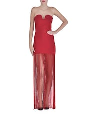 Red Polyester And Spandex Maxi Dress - By