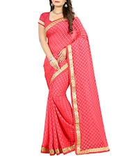 pink cotton blend woven saree -  online shopping for Sarees