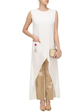 white silk blend highlow kurta -  online shopping for kurtas
