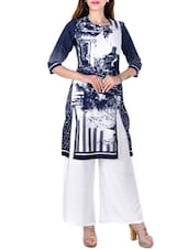 Blue & White Cotton Kurta - By