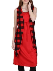 Red Colored Checks Perinted Jacket Style Cotton Straight Kurta - By