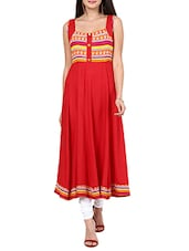 Red Rayon Flared Kurta - By