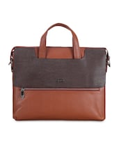 Textured Tan Leather Laptop Bag - By