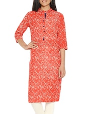 Red Colored Cotton Straight Kurta - By