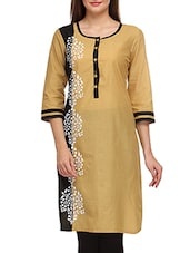 Beige Cotton Hand Work Printed Round Neck Kurta - By