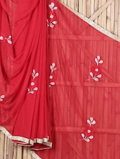 Red Floral Nazneel Saree - By