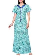 green printed cotton gown -  online shopping for Gowns & Kimonos