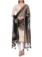 Black Net Hand Work Dupatta - By