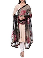 Black Net Aari Work Dupatta - By