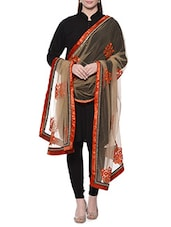 Beige Net Hand Work Dupatta - By