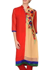 Red And Beige Georgette Embroidered Kurta - By