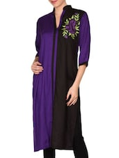 Purple And Black Rayon Embroidered Kurta - By