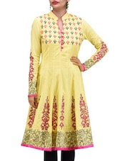 Yellow And Pink Cotton Printed Kurti - By