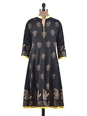 Black Rayon Block Printed Anarkali Kurta - By