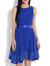 Royal Blue Sleeveless Dress With Lace Hem - By