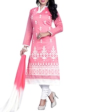 Pink Cotton Straight Unstitched Suit -  online shopping for Unstitched Suits