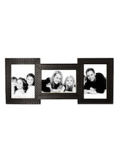 Black Faux Wood Collage Photo Frame For 3 Photos - By