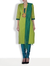 Green Chanderi Silk Embroidered Three Quarter Sleeves Slim Fit Kurti Set - By