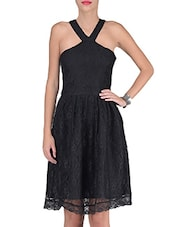 Black Cotton And Nylon Solids Fit Dress - By