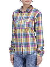 Multicolored Cotton Checkered Shirt Style Top - By