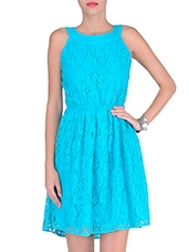 Blue Cotton And Nylon Solids Lace Dress - By
