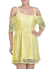 Yellow Cotton And Nylon Solids Lace Dress - By