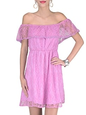 Purple Cotton And Nylon Solids Lace Dress - By