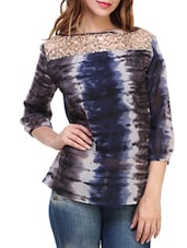 purple printed georgette regular top -  online shopping for Tops