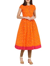 orange cotton anarkali kurta -  online shopping for kurtas