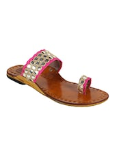pink one toe kolhapuri -  online shopping for Kolhapuris