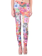 multicolored floral printed polyester legging -  online shopping for Leggings