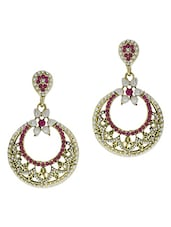 Gold And White Pearl Embellished Drop Earrings - By - 1300601