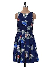 Navy Blue Polyester Floral Printed Pleated Dress - By