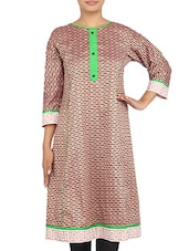 Beige And Brown Printed Cotton Kurta - By